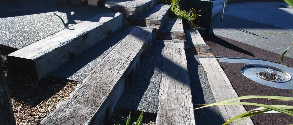 concrete steps with hardwood treads